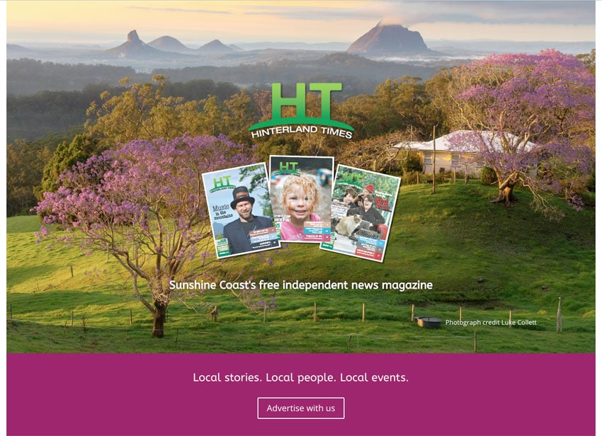 Hinterland Times HT website homepage designed by Leanne from Flowering Design