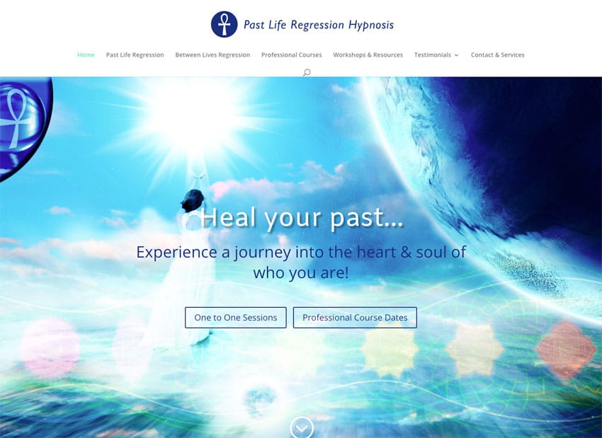 Past Life Regression Hypnosis website homepage designed by Flowering Design
